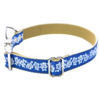 DOG COLLAR - HIBISCUS FLOWERS ON ROYAL BLUE